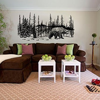 Bear and Winter Forest Pine Trees Vinyl Wall Mural Decal Sticker Graphic
