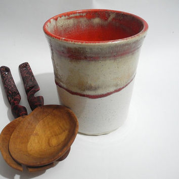 Cutlery Drainer, Kitchen Storage Organizer, Utensil Holder/Caddy - Red and White Stoneware