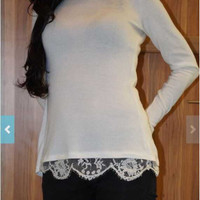 Back Slit Lace Long Sleeve T Shirt
