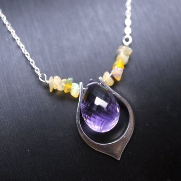Large Briolette Natural Amethyst Necklace - Full Sterling Silver Fire Opal Necklace, Infinite Genuine Amethyst Feb Birthstone Jewelry