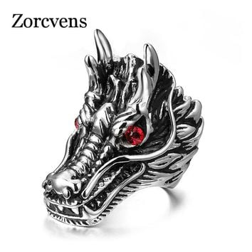 ZORCVENS Dragon Head Rings For Men Punk Rock Style Red Stone Rings Party Jewelry