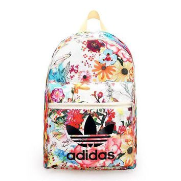 LMFUP0 Adidas Fashion Flower Print Shoulder Bag Travel Bag School Backpack