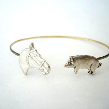 Pig cuff bracelet with a horse, wrap style