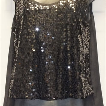 Sleeveless Black Sequin Top w/Contrast Detail