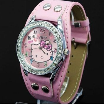 New Hello Kitty Watches Fashion Ladies Quart Watch Vintage Kids Cartoon Wristwatches Analog King Girl Brand Quartz women