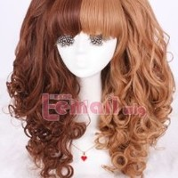 Lolita Long Curly Women Colorful Cosplay 3 Pieces Ponytails Wig Set Full Wigs (dark brown&light brown)