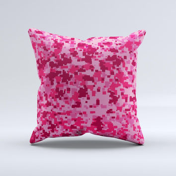 Hot Pink Digital Camouflage Ink-Fuzed Decorative Throw Pillow