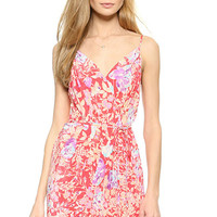 Pink Floral Strappy Mini Dress