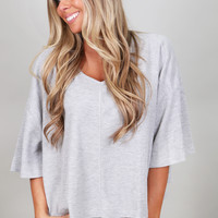 Go With The Flow Crop Top {Gray}