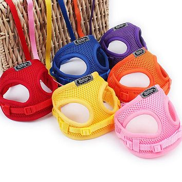 Soft Breathable Mesh Small Dog Harness Vest Pet Supplies Chihuahua Yorkshire Nylon Leash Lead Collar Set arnes perro gato correa