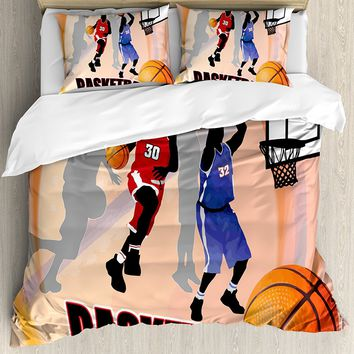 Duvet Cover Set, Basketball Action Players on Abstract Background Classical Poster Style Illustration, 4 Piece Bedding Set