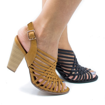 Hills Tan Pu By Delicious, Peep Toe Huarache Woven Sling Back Stacked Heeled Sandals
