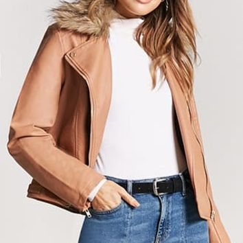 Faux Fur-Collar Moto Jacket