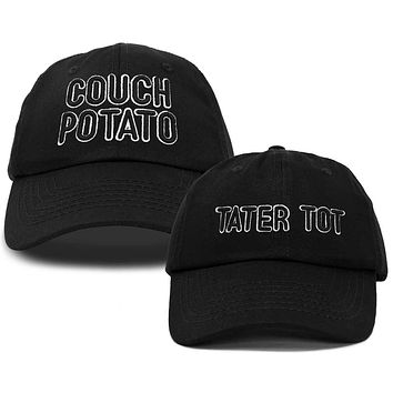 DALIX Father Son Couch Potato Tater Tot Ball Cap Embroidered Hat