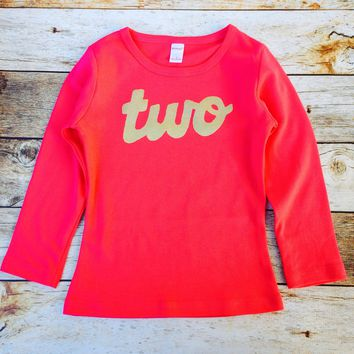 Fuchsia hot Pink long sleeve with gold glitter girls 2nd Birthday shirt sparkle two