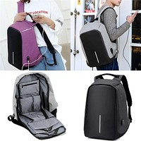 Anti-theft Backpack With USB Charge Port Concealed Zippers Lightweight Waterproof