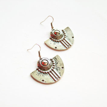Boho tribal earrings silver, Antique silver boho earrings, Silver dangle half moon earrings