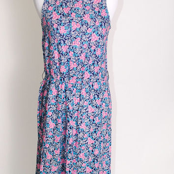 Vintage 90s purple sleeveless FLORAL rayon midi length fitted cinched waist GRUNGE dress