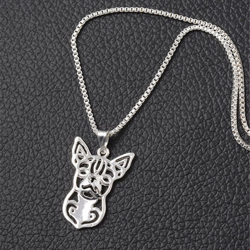filigrie Chihuahua Necklace Animal Jewelry Silver Plated
