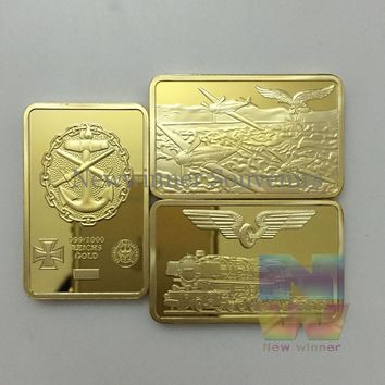 3pcs/lot 1926 1933 1935 Germany Cross Eagle Gold Bullion Bar Coins Deutsche Reichsbank Iron Challenge Bars Gift Sets