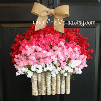 spring wreath Valentine's day summer wreaths front door wreaths decorations birch bark vases welcome wreaths Mother's Day gifts