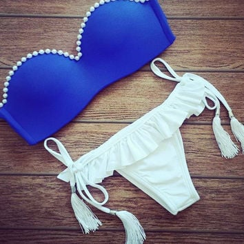 Blue Pearl Vintage Triangle Swimwear Bikini Bandeau Push Up Bra