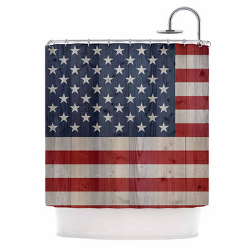"""Bruce Stanfield """"USA Flag On Spruce"""" Blue Red Shower Curtain"""