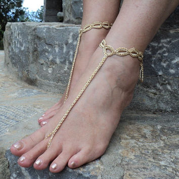 Gold Crochet Barefoot Sandals,Sexy Foot Jewelry ,Toe Ring, Beach Weddings or Festivals