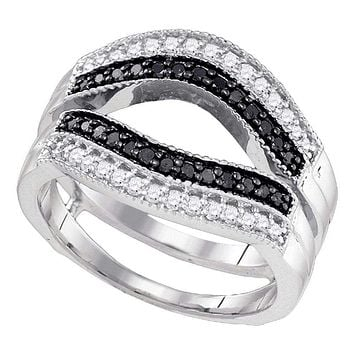 10kt White Gold Women's Round Black Color Enhanced Diamond Ring Guard Wrap Solitaire Enhancer 1/2 Cttw - FREE Shipping (US/CAN)