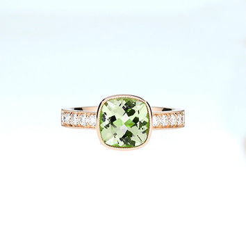 Cushion cut Peridot solitaire engagement ring made from rose gold, diamond ring, square peridot ring, bezel, milgrain, vintage, green gem