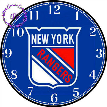 """New York Rangers Sports Team Art - -DIY Digital Collage - 12.5"""" DIA for 12"""" Clock Face Art - Crafts Projects"""