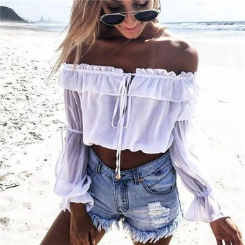 Strapless Drawstring Strappy Long Sleeve Cami Crop Shirt Top Tee