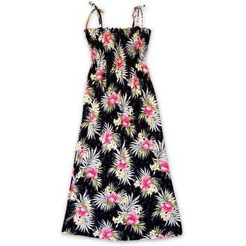Hibiscus Isles Black Maxi Hawaiian Dress