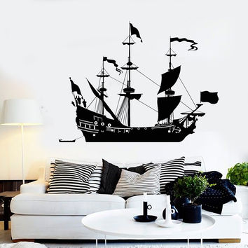 Vinyl Wall Decal Ship Sail Boat Sailor Sea Style Home Decor Stickers Unique Gift (1045ig)