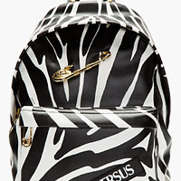 BLACK ZEBRA PRINT SAFETY PIN BACKPACK