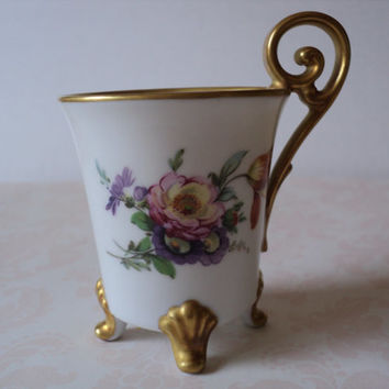 Tea Cup Alt Tirschenreuth 1838 Made in Germany Footed Demitasse Teacup on 3 Legs Pretty Gilt Handle and Trim Dainty Floral Colorful Design