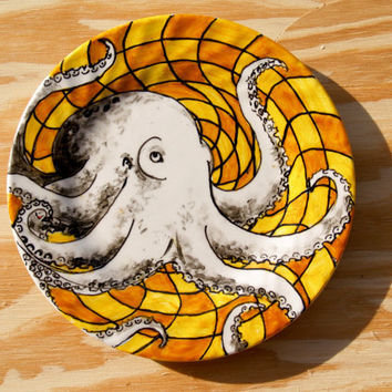 Hand Painted Octopus Side Plate One of a Kind by RKArtwork on Etsy