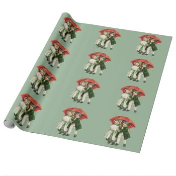 Vintage Christmas Girl and Boy Wrapping Paper