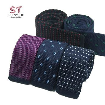 Formal Men's Classic Knitted Tie 20 Colors Red Bule Black Dots Fashion Knit Handmade Narrow Neckties Skinny Tie Drop Shipping