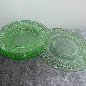 LE Smith lime green hobnail glass salad dessert plates (Set of 4) - Green glass, vintage glass, vintage dinnerware, small plates