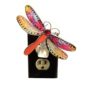 Home Decor DRAGONFLY NIGHT LIGHTS Metal Insect Wings Odonata Ea17526 Orange
