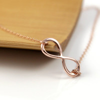 Rose Gold Infinity necklace - simple rose gold filled necklace with a infinity charm, forever love