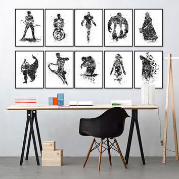 Original Watercolor Black White Superhero Avenger Batman Movie Art Print Poster Wall Picture Canvas Painting Kids Room Home Deco