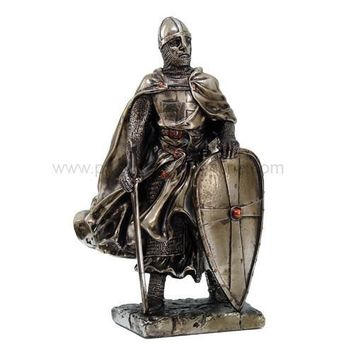 Medieval Crusader Knight Standing With Sword and Shield