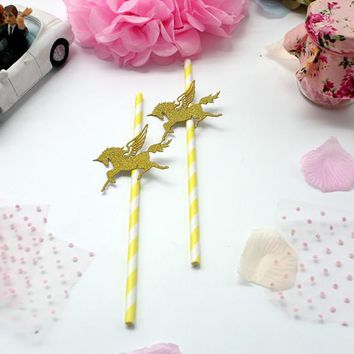 50PCS Gold Glitter Unicorn Yellow Paper Straws For Kids Birthday Wedding Decoration Party Event Supply Drinking Straws