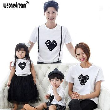 PEAPGB2 WEONEDREAM 2016 Summer Matching Family Clothing Outfit Love Printed Short Sleeve T Shirt For Mom Father Kids Hot Fashion Tees