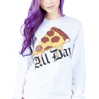 Pizza All Day Crewneck in White