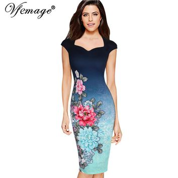 Vfemage Womens Elegant Vintage Floral Print Charming Pinup Cap Sleeve Casual Party Evening Vestidos Pencil Sheath Dress 3013