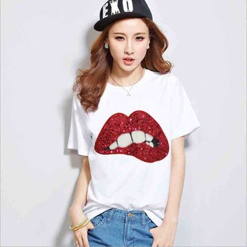 Plus Size 5XL Lovely Lip Sequins Women T-shirt Hand Beaded Lady Short Sleeve T Shirt New Design Cotton Round Neck Tops Casual