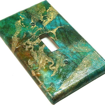 Light Switch Cover- Emerald Green Marbled Metallic Paper